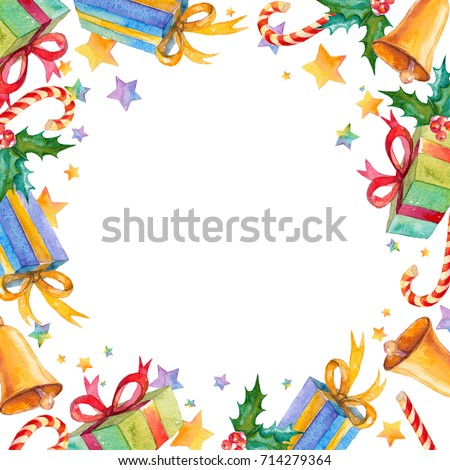 watercolor background with christmas symbols border new year texture with hand painted gifts holly