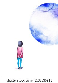Watercolor background. Colorful abstract texture. Dreaming girl looking on the moon. Watercolor creative concept. Creative artist. Imagine. Follow your dreams
