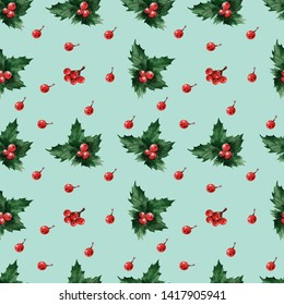Watercolor background with Cristms plant Holly