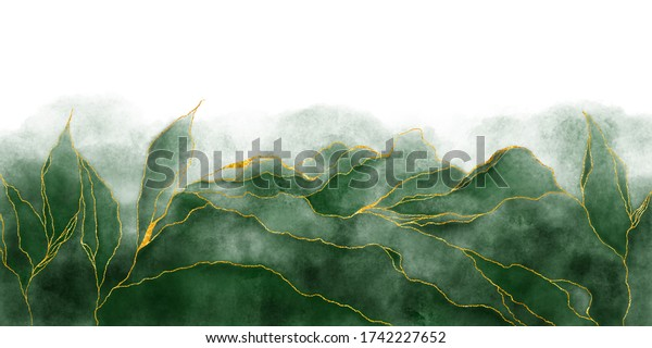 Watercolor background drawn by brush. Green paints spilled on paper. Golden shiny veins and Liquid marble texture. Fluid art luxury wallpaper for design, print, invitations.