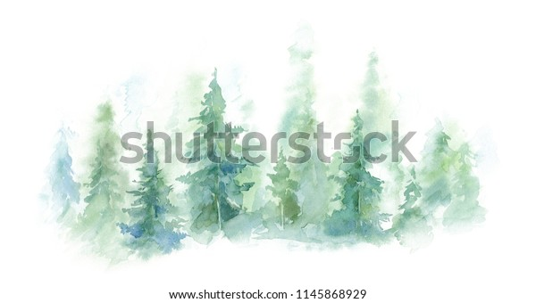 watercolor background drawn landscape of foggy forest Wild nature, frozen, misty, taiga.