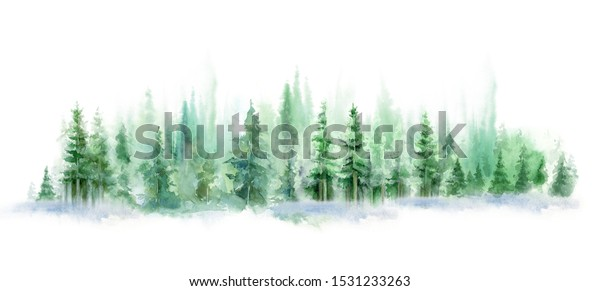 watercolor background drawn landscape of foggy forest, winter hill. Wild nature, taiga.