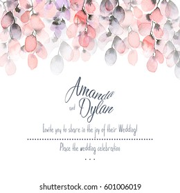 Watercolor background with floral elements. Can be used for  mothers day, valentines day, birthday cards, wedding invitations.