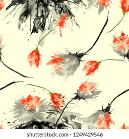 Watercolor background with floral pattern, splash of abstract paint, fashionable art background, shawl. Orchid flowers, poppy, tulip, cornflower, knapweed, rose, field or garden flowers. Fashion Art