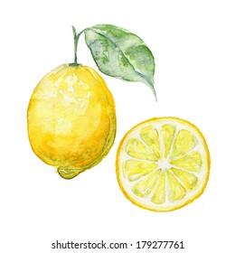Watercolor background fresh lemon with green leaves on an isolated white background. Food element for your design.