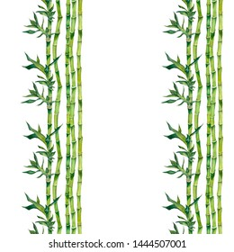 Watercolor background with green bamboo trees, sticks and leaves. Seamless pattern on white background