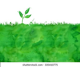 Watercolor background with growing sprout.