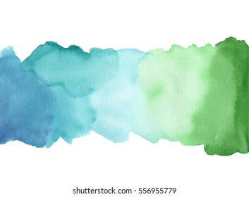 Watercolor background hand painted on white background