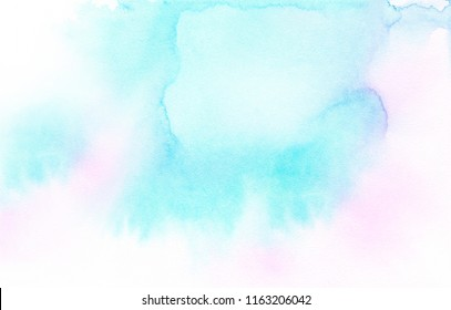 Watercolor background hand painted unicorn backdrop, pastel color transition, gradient, soft pink, teal, turquoise, melting pigment, light texture for text, poster, banner, social media post, print.