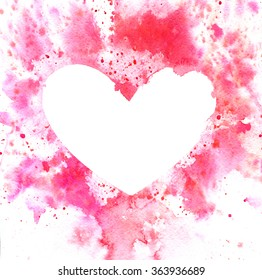 Watercolor background with heart with place for text. Perfect for Valentines Day design.