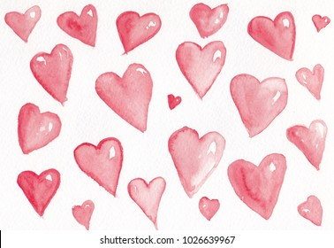 watercolor background hearts
