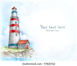 Watercolor background with illustration of lighthouse