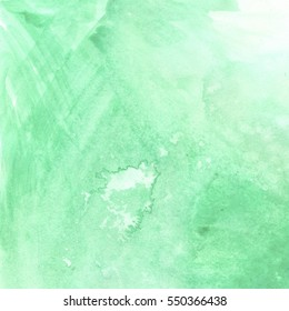 Watercolor background mint lime green pale hand painted.