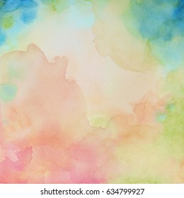 A watercolor background painting on textured paper with soft bright color splashes with fringe bleed with blue corners.