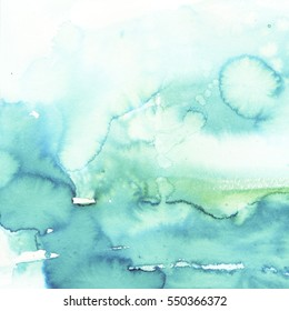 Watercolor background  pale blue turquoise emerald  hand painted.