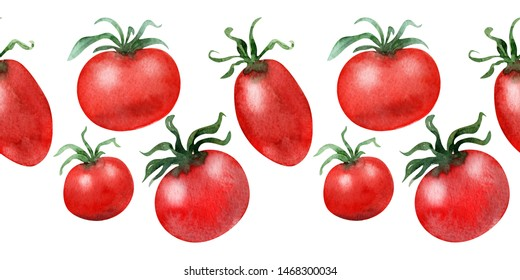 Watercolor background picture Tomatoes and cucumbers