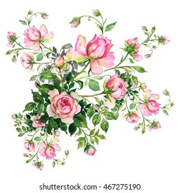 Watercolor background with rosebud. Bouquet of roses with buds.