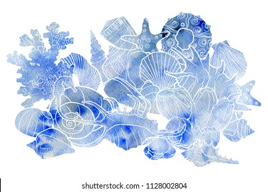 watercolor background with seashells , hand drawn illustration, sea composition