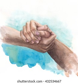Watercolor background with shaking hands on blue background