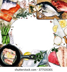 Watercolor background with space for text - Cooking Fish