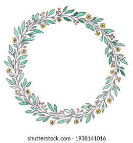 watercolor background with a wreath of leaves, plants, flowers. Yellow, green, red. Minimalism, abstract pattern. For the design and printing of cards, paper, invitations.Spring summer style, botany