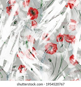 Watercolor background.A bright splash of paint. Red poppy. Beautiful abstract background. round abstract spot. For fabric, cover, packaging, material, scarf. Watercolor splash.Red flower, floral print