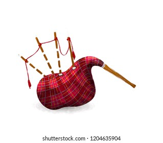 Watercolor bagpipe in scottish colors over white background