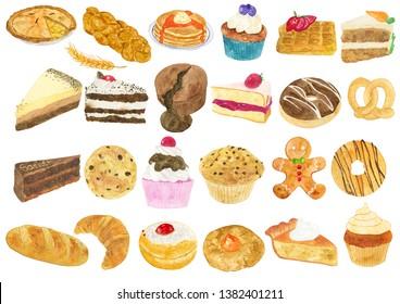 Watercolor Bakery Illustration, Bakery Clipart