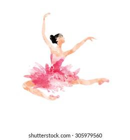 watercolor ballerina dancing in the jump