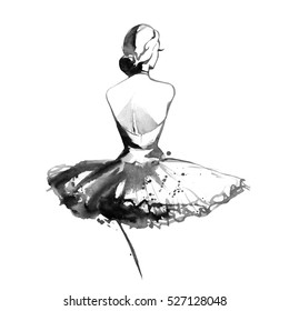 Watercolor ballerina on white background posing