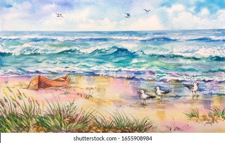 Watercolor Baltic sea view. Sandy beach, blue sky, seagulls, nature backgrounds. Dune grasses on the gold beach. Horizontal view, copy-space. Template for designs, card, posters.