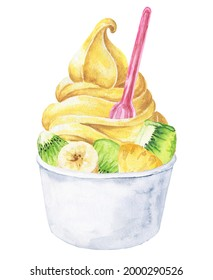 Watercolor banana frozen yoghurt in cup on white background. Watercolour froyo food illustration.