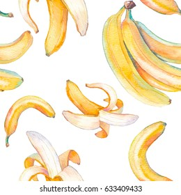 Watercolor banana seamless pattern. Hand painted texture with summer fruit on white background. Healthy food wallpaper design