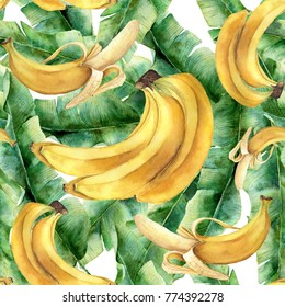 Watercolor banana tropical pattern. Hand painted tropical fruit and leaves isolated on white background. Food botanical illustration for design or print