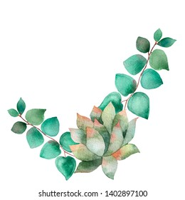 Watercolor banner with eucalyptus leaves and pink succulent flower. Illustration for wedding invitation, save the date or greeting design. Spring or summer flowers with space for your text.