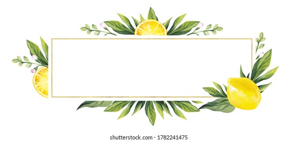Watercolor banner with lemons and green leaves. Place your text in the center.