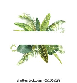 Watercolor banner tropical leaves and branches isolated on white background. Illustration for design wedding invitations, greeting cards, postcards. Spring or summer flowers with space for your text.