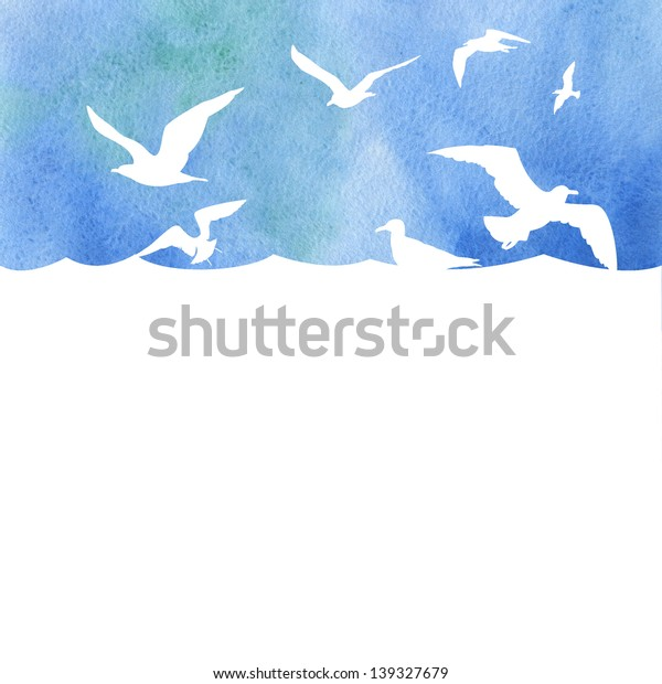 Watercolor banner with waves, seagulls and place for your text