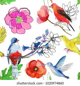 Watercolor banner with wildflowers and birds.