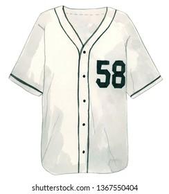Watercolor Baseball Shirt Illustration