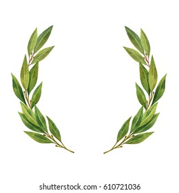 Watercolor Bay leaf wreath isolated on white background. Hand drawn illustration for sports achievements, awards, victories and success..
