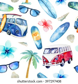 Watercolor beach, adventure,, bike, motorollier, tree seamless pattern. Watercolour  fun holiday activity, tropical travel illustration. Island summer , retro car, surfboard.