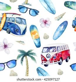 Watercolor beach, adventure, bike, motorollier, tree seamless pattern. Watercolour  fun holiday activity, tropical travel illustration. Island summer , retro car, surfboard.