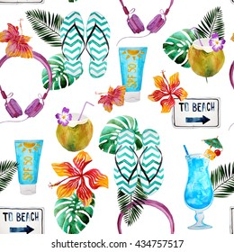 Watercolor beach pattern with cocktails, tropic leafs, hibiscus