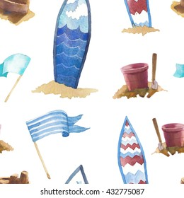 Watercolor beach seamless pattern. Hand drawn wallpaper with flags, sand games, surfboards on white background. Summer repeating texture