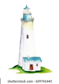 Watercolor beacon  isolated on white background, hand drawn illustration.