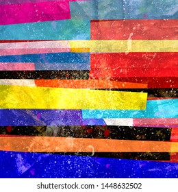 Watercolor beautiful abstract background with colorful stripes and lines. Design template for web pages, cards or poster.