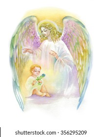 Watercolor Beautiful Angel with Wings Flying over Child