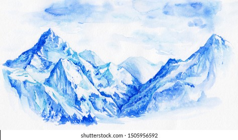 Watercolor beautiful blue snow mountains