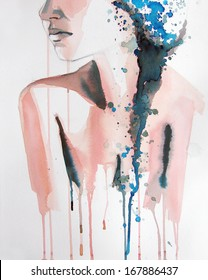 watercolor of beautiful girl   handmade   self made   painting